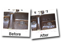 The Simple Cleaning Solution™ for hard water stain removal from porcelain sinks