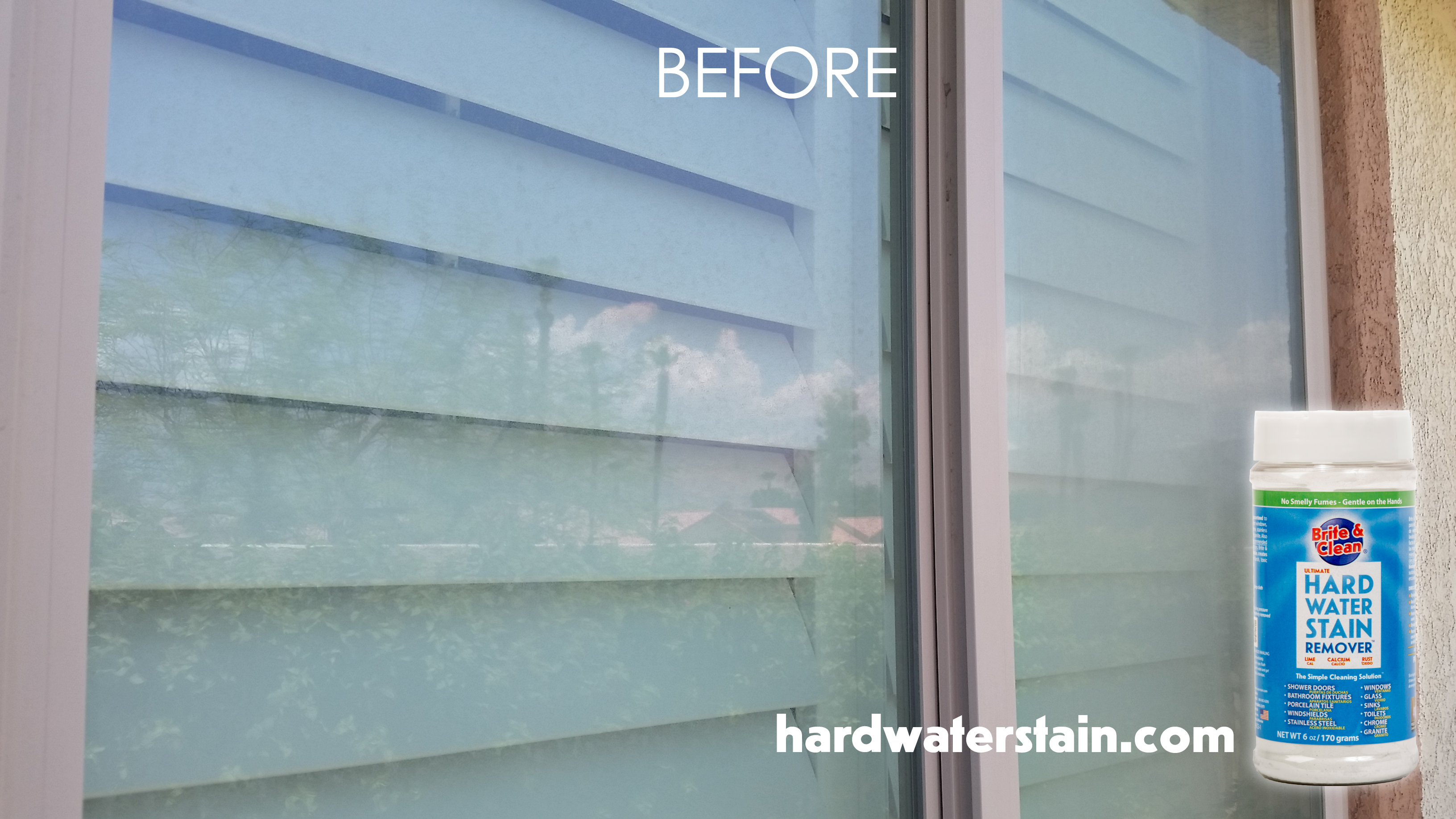 hard water stains before Brite & Clean