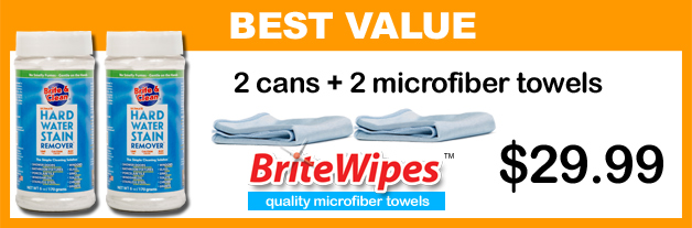 order 2 bottles and 2 towles of the Simple Cleaning Solution™ for Hard Water Stain Removal and BriteWipes