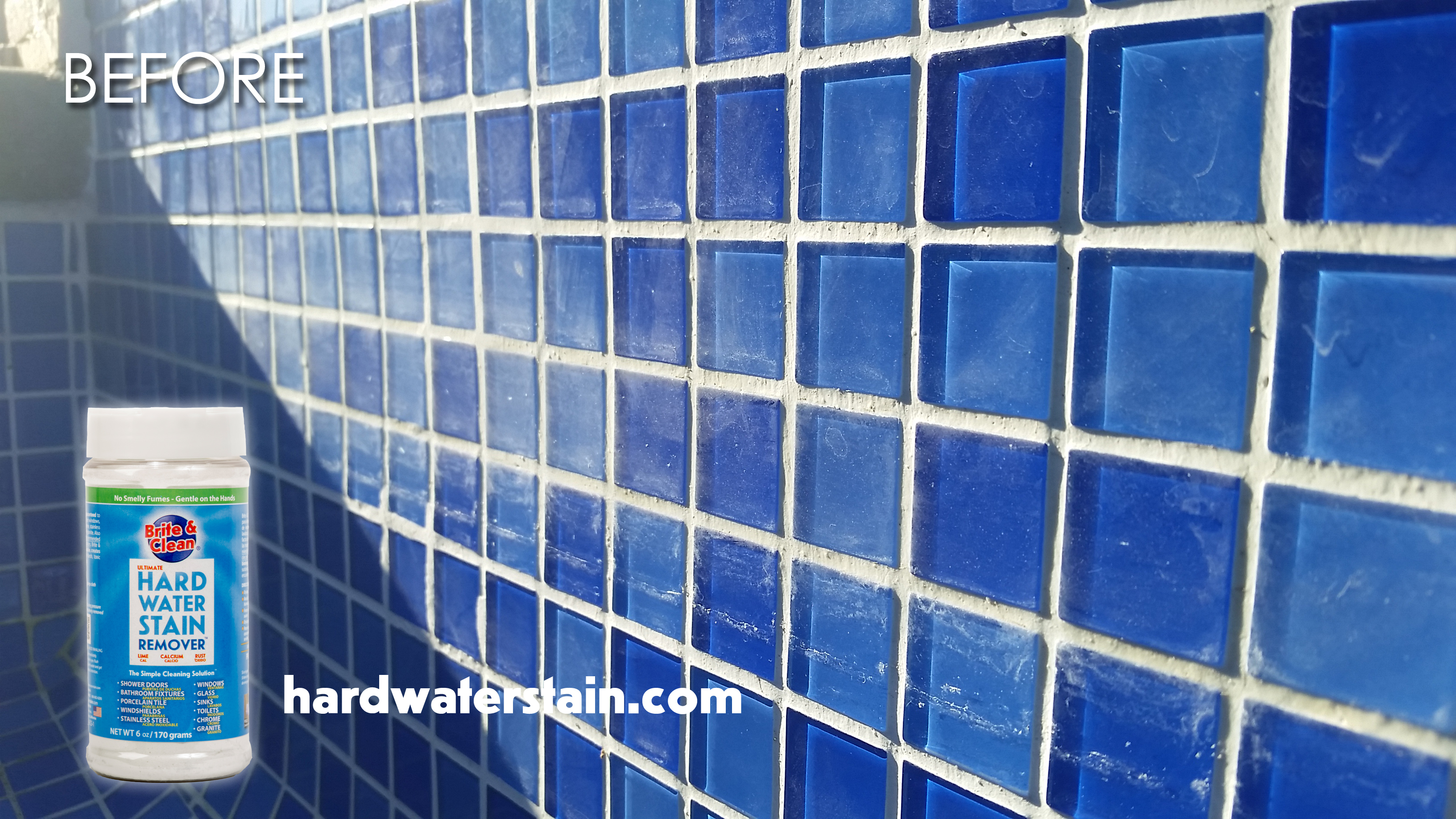 hard water stains on glass pool tile