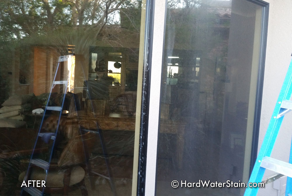 no hard water stains on residential windows